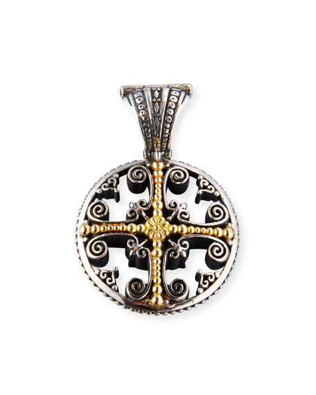 Konstantino Etched Sterling Silver Pendant with 18K Gold