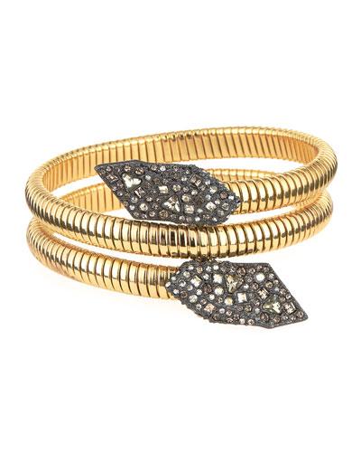 Crystal Coiled Bracelet, Golden