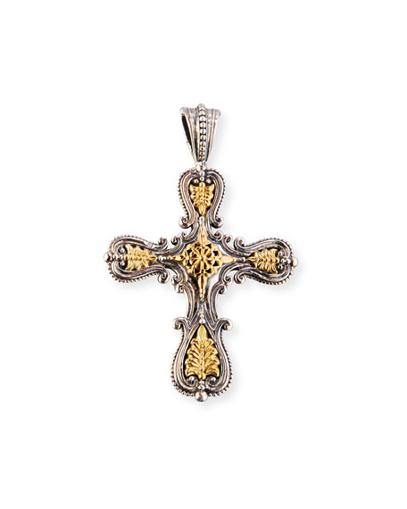 Konstantino granulated sterling silver 18k gold cross pendant granulated sterling silver 18k gold cross pendant audiocablefo
