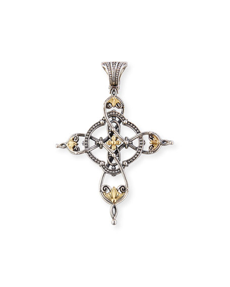 Konstantino etched sterling silver 18k gold cross pendant neiman etched sterling silver 18k gold cross pendant aloadofball Image collections