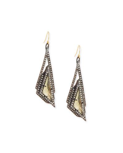 Crystal Pyramid Drop Earrings