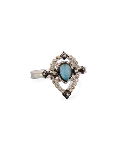 Petite New World Midnight Pear-Shaped Blue Quartz Triplet Ring with Diamonds