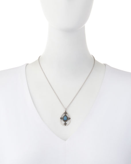 New World Blue Quartz Triplet Shield Pendant Necklace with Diamonds