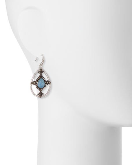 New World Blue Quartz Triplet Shield Drop Earrings with Diamonds