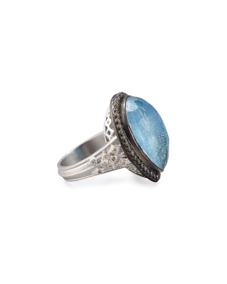 New World Midnight Pear-Shaped Blue Quartz Triplet Ring with Diamonds