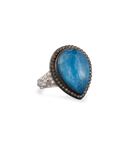 New World Midnight Pear-Shaped Blue Quartz Triplet Ring with Diamonds
