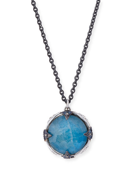 16mm New World Midnight Milky Blue Quartz Triplet Pendant Necklace with Diamonds