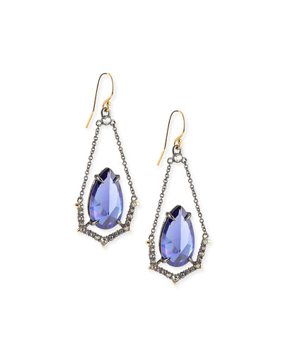 Crystal Illusion-Set Wire Drop Earrings