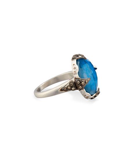 16mm New World Milky Blue Quartz Triplet Ring with Diamonds