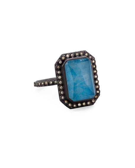 Armenta Old World Emerald-Cut Blue Quartz Triplet Ring