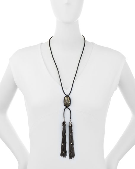 Leather Chain Tassel Necklace, Black/Silver