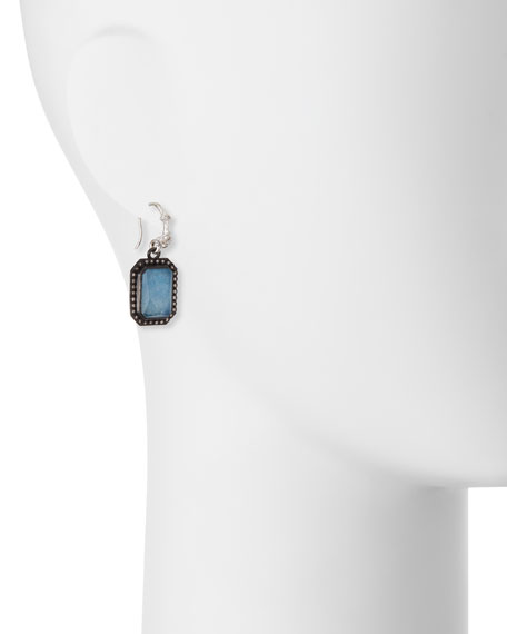 New World Emerald-Cut Blue Quartz Triplet Earrings with Diamonds