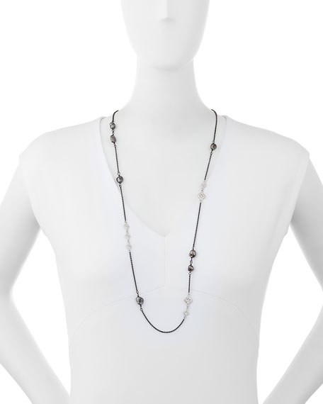 New World Scroll Chain Necklace with Keshi Pearls, 36""