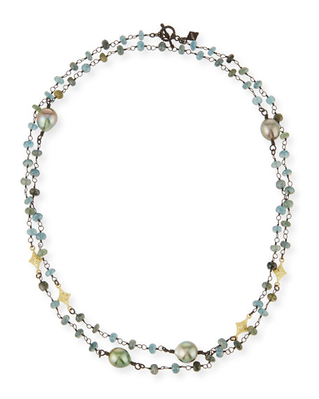Armenta Old World Crivelli Station Necklace with Aquamarine