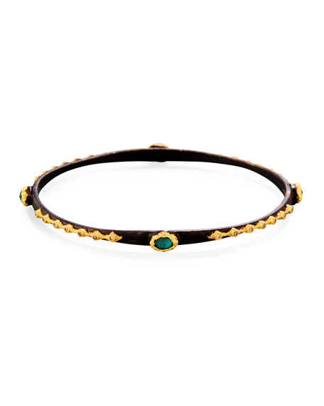 Old World Midnight Emerald Triplet Eternity Bangle Bracelet