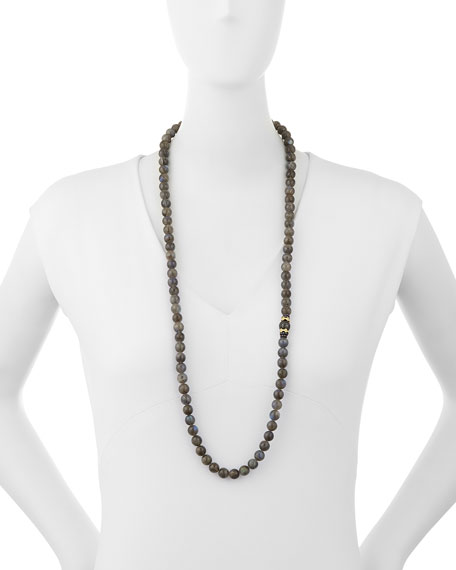 "Old World Tahitian Pearl Necklace with Diamonds, 36""L"
