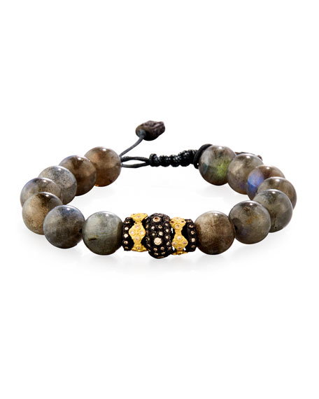 Old World Midnight Labradorite Bead Bracelet with Diamond Spacer