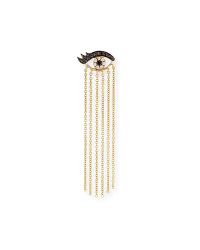 14K Long Fringe Lash Stud Earring with Diamonds