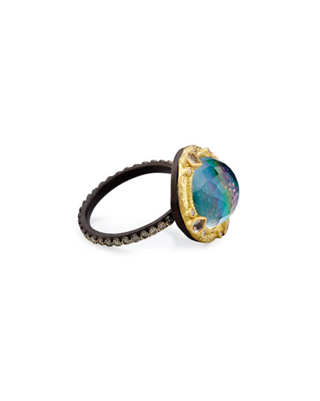 Old World Midnight Round Dome Ring with Diamonds