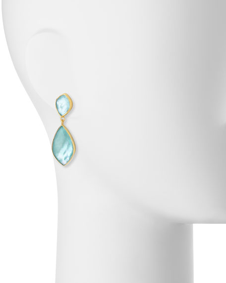 Turquoise Doublet Double-Drop Earrings