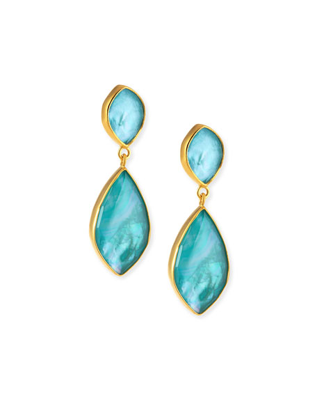 Turquoise Doublet Double-Drop Earrings