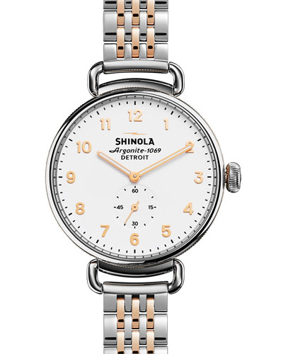 38mm Canfield Watch with Bracelet Strap, Silver/Rose Golden