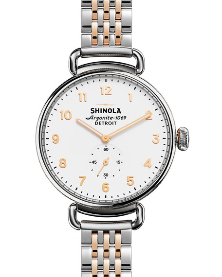 Shinola 38mm Canfield Watch with Bracelet Strap, Silver/Rose