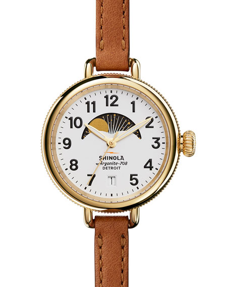 34mm Birdy Moon Phase Watch with Leather Strap, Brown/White