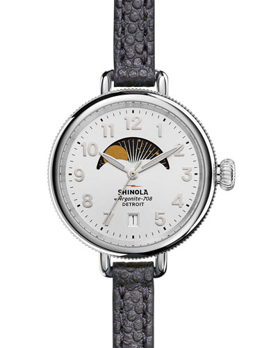 34mm Birdy Moon Phase Watch with Leather Strap, Navy/White