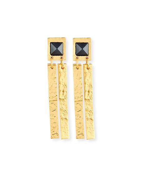 Stephanie Kantis Pyramid Hematite Drop Earrings