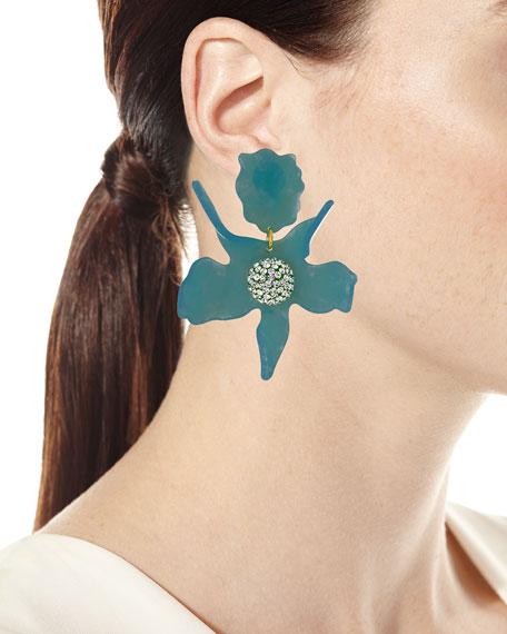 Crystal Lily Earrings, Black