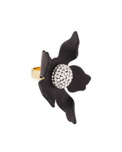 Crystal Lily Ring, Black