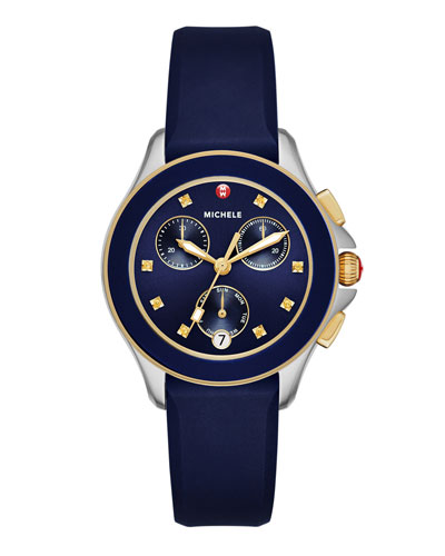 Cape Two-Tone Chronograph Watch w/Silicone Strap, Navy