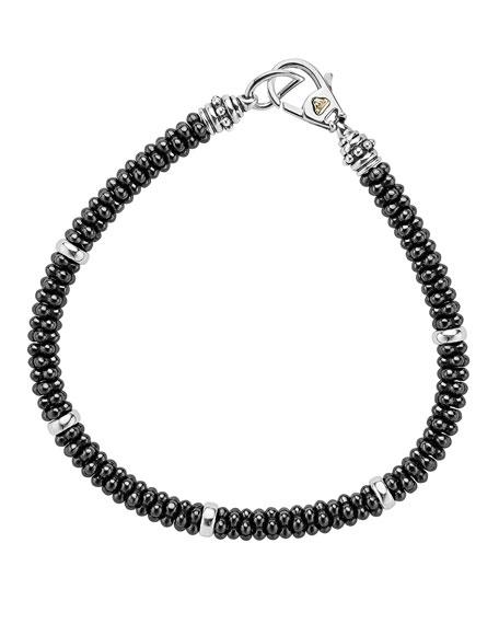 """Ceramic Black Caviar Beaded Bracelet, 7"""""""