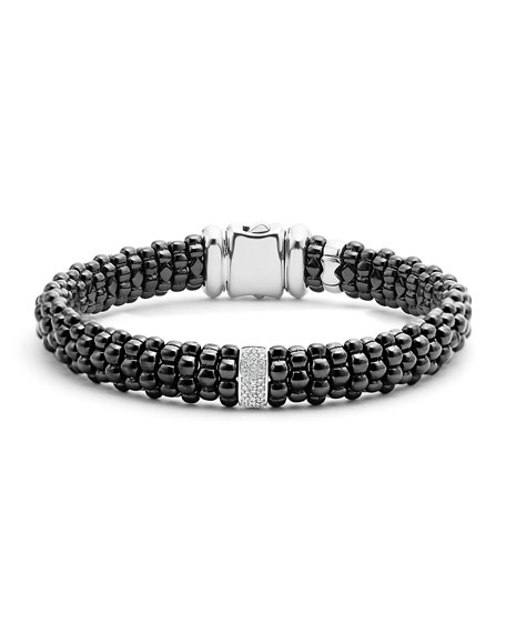 Black Caviar Bracelet with Diamond Station, Size Medium