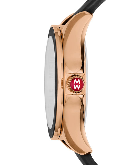 Cape Black Silicone Strap Watch with Pink Topaz Dial Markers, Rose Golden