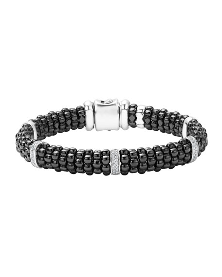 Lagos Black Caviar Ceramic Bracelet with Diamonds