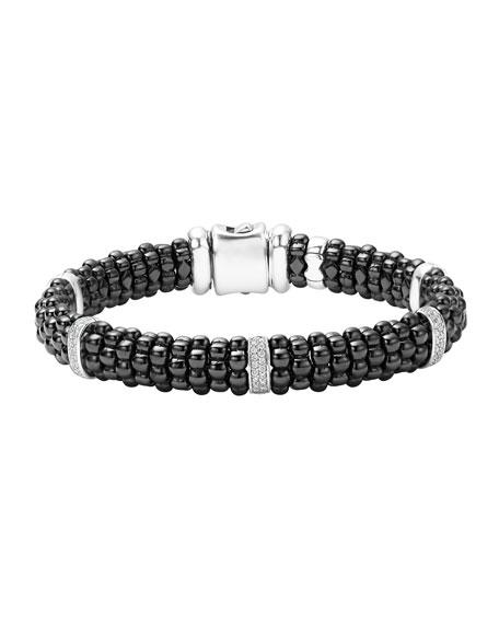 Lagos Black Caviar Ceramic Bracelet with Diamonds