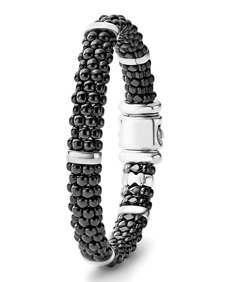 9mm Black Caviar Ceramic Rope Bracelet, Size Medium
