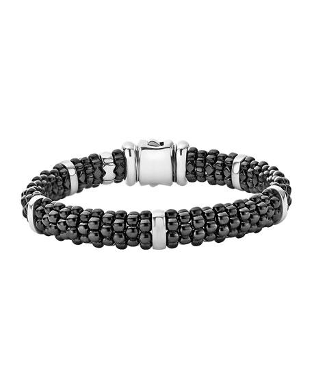 LAGOS Black Caviar Ceramic And Sterling Silver Station Bracelet in Black/ Silver/ Gold