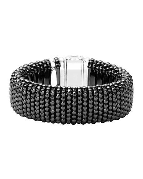 Lagos Black Caviar Ceramic Rope Bracelet, Size Medium