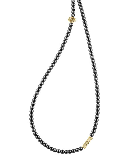 Icon Beaded Hematite Station Necklace, 34""