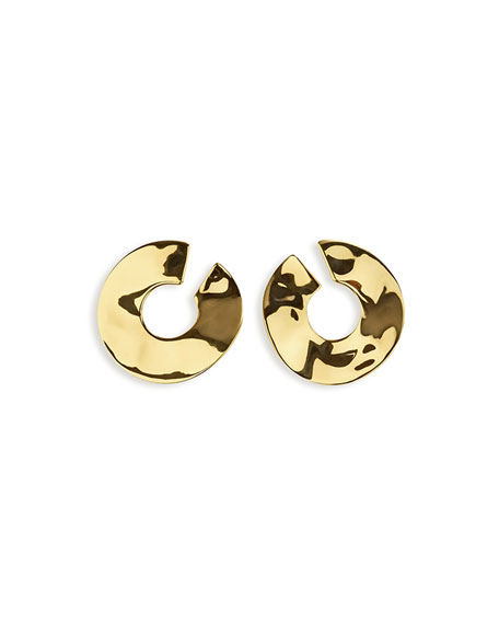 18K Senso Open Wavy Disc Earrings