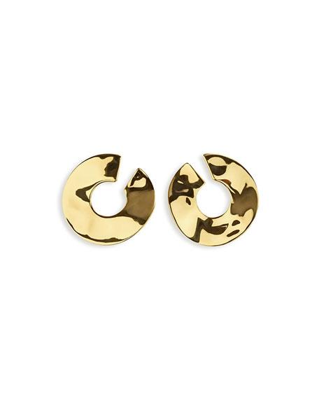 18K Senso Open Wavy Disc Earrings