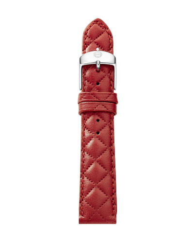 16mm Quilted Leather Watch Strap, Red