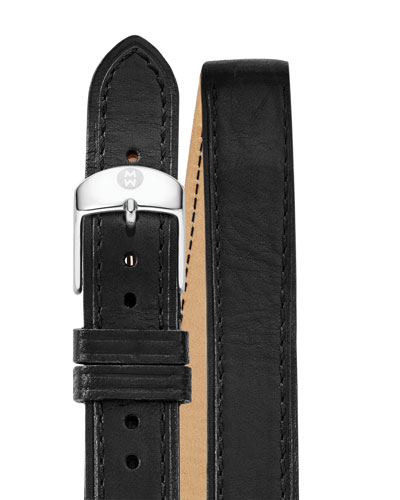 16mm Double-Wrap Leather Watch Strap, Black