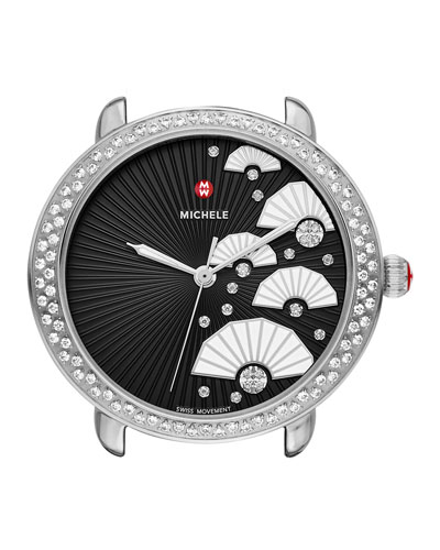 16mm Serein Diamond Fan Watch, Black