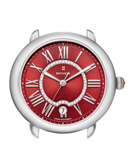 MICHELE 16mm Serein Watch Head with Diamonds, Red