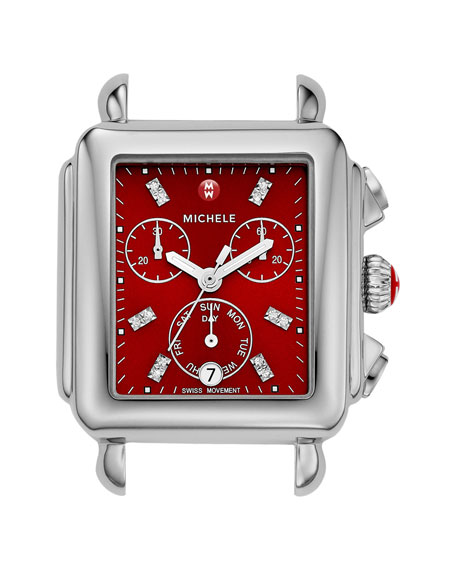 Signature Deco Watch Head with Diamonds, Red