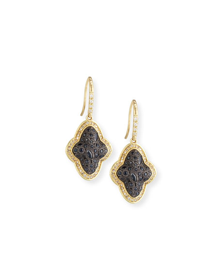 Old World Cluster Saddle Earrings with White & Champagne Diamonds and Black Sapphires